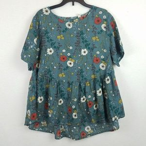Tops - Floral Green Oversized Blouse S/M